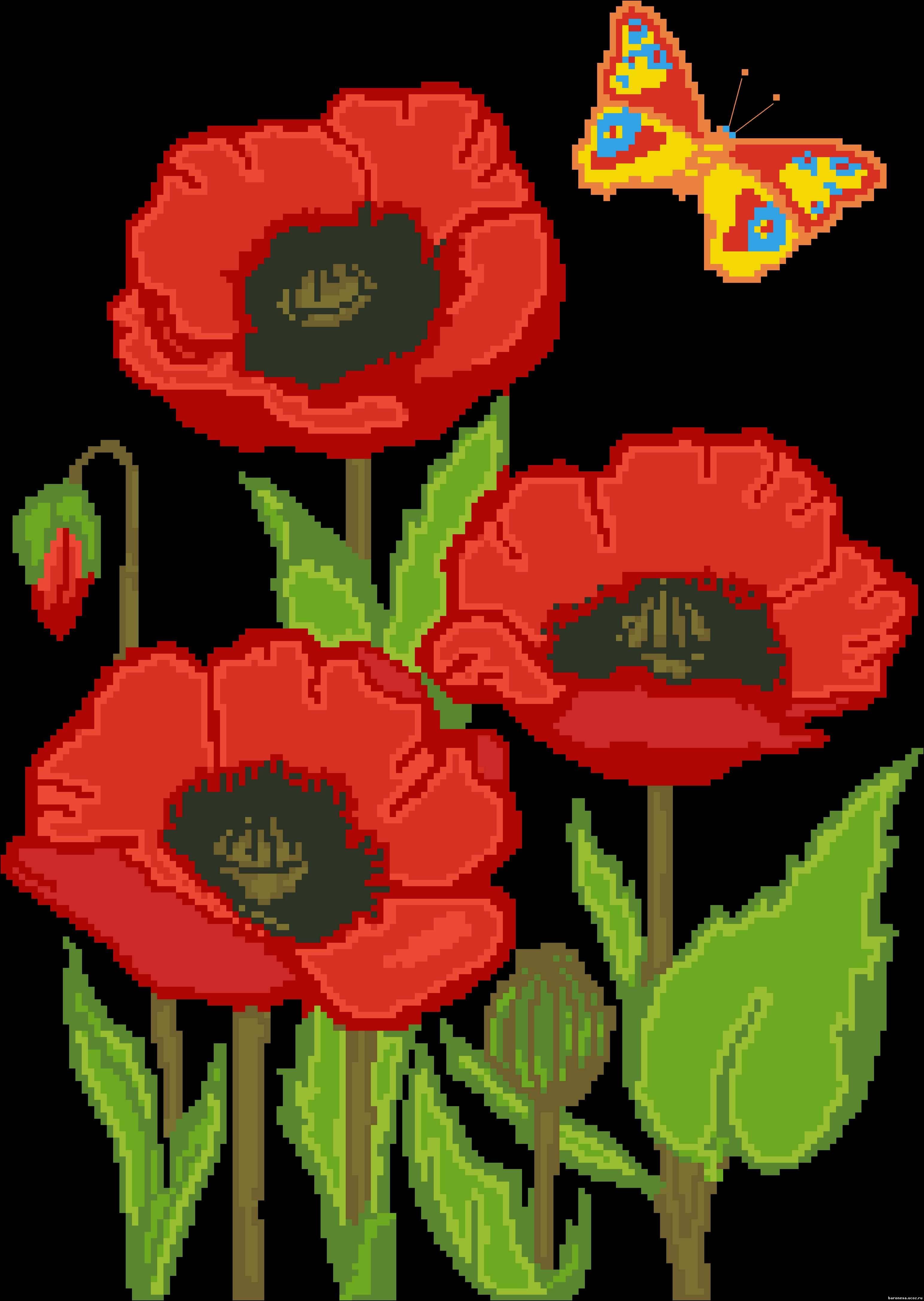 Красные маки на черном фоне схема
